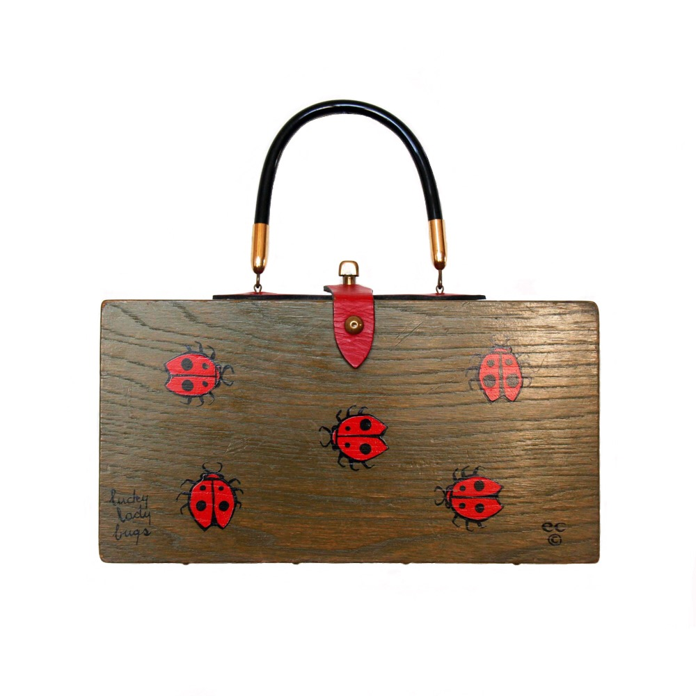 "Enid Collins of Texas ""lucky lady bugs"" box bag   height - ""    width - ""    depth - """