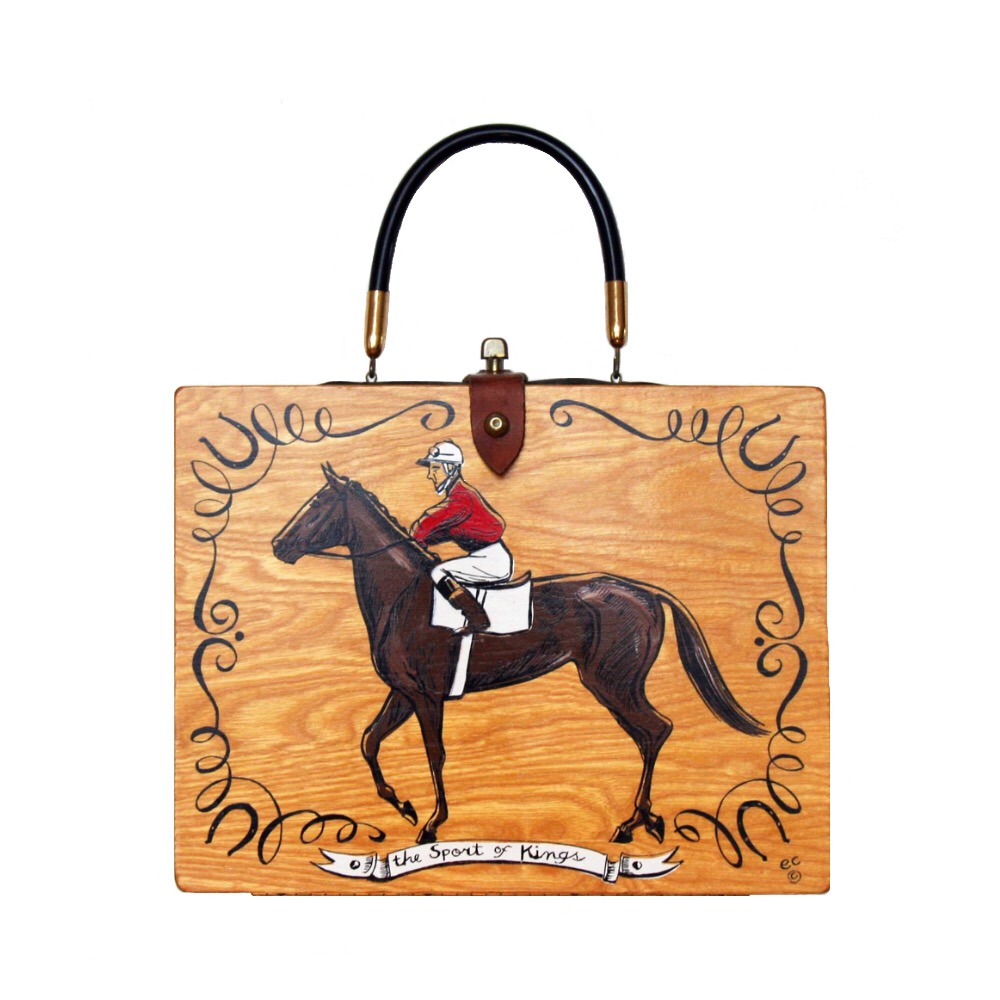 "Enid Collins of Texas ""the Sport of Kings"" box bag   height - ""   width - ""   depth - """