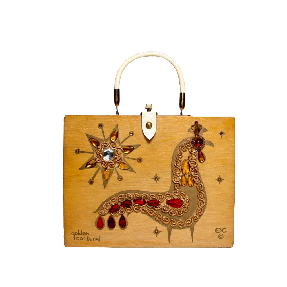 "Enid Collins of Texas 1964 ""golden cockerel"" box bag   height - 8 5/8""   width - 11 1/8""   depth - 2 3/4"""