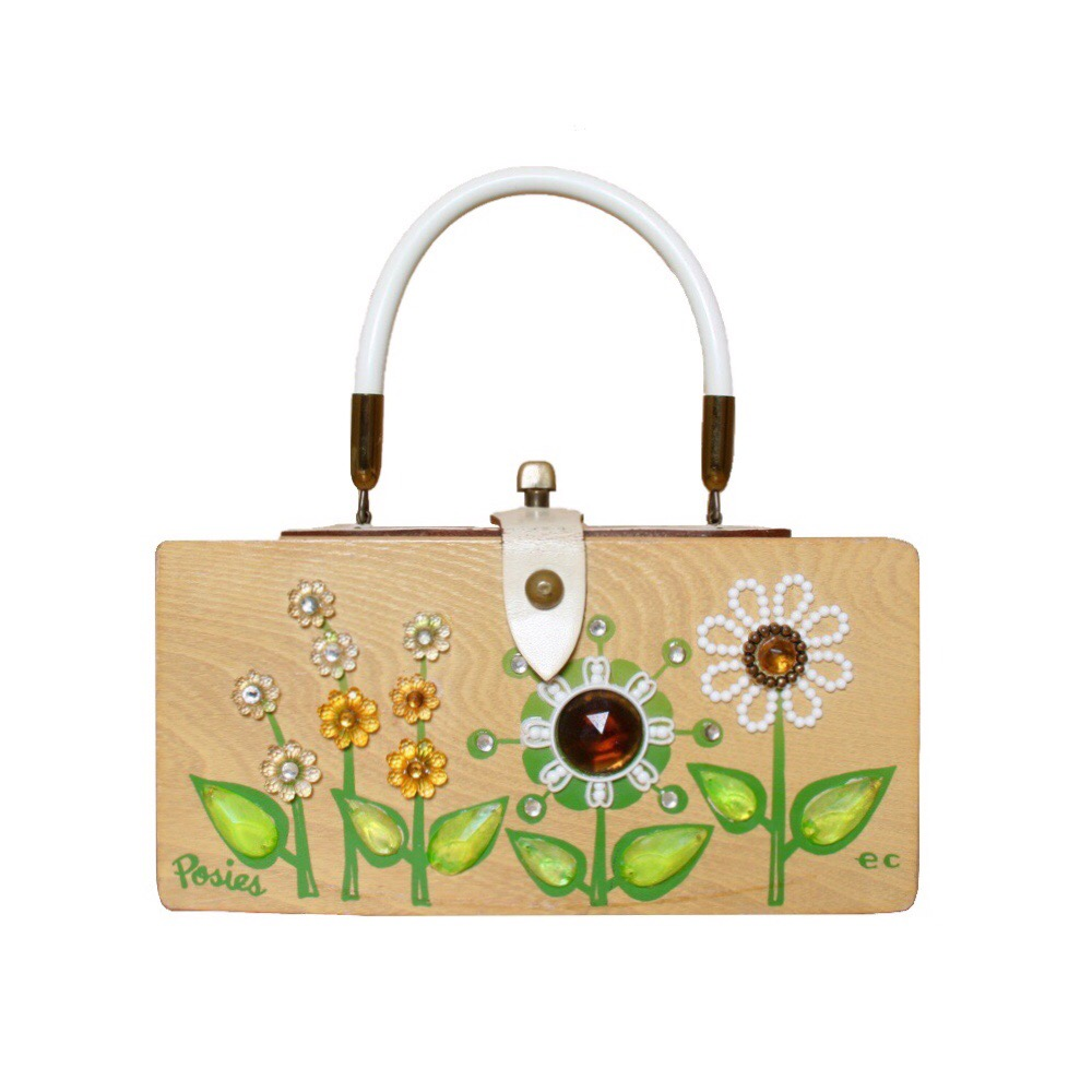 "Enid Collins of Texas ""Posies"" box bag   height - ""   width - ""   depth - """