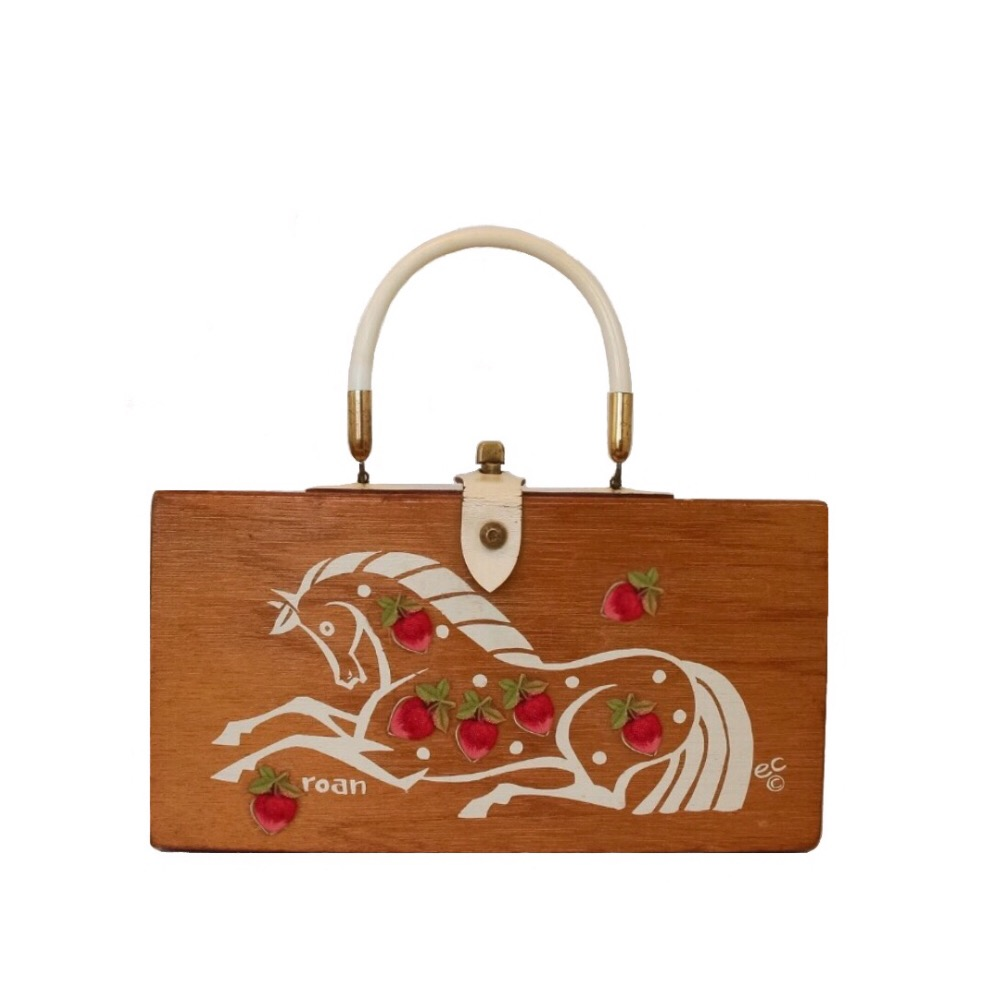 "Enid Collins of Texas ""🍓 Roan"" box bag   height - ""   width - ""   depth - """