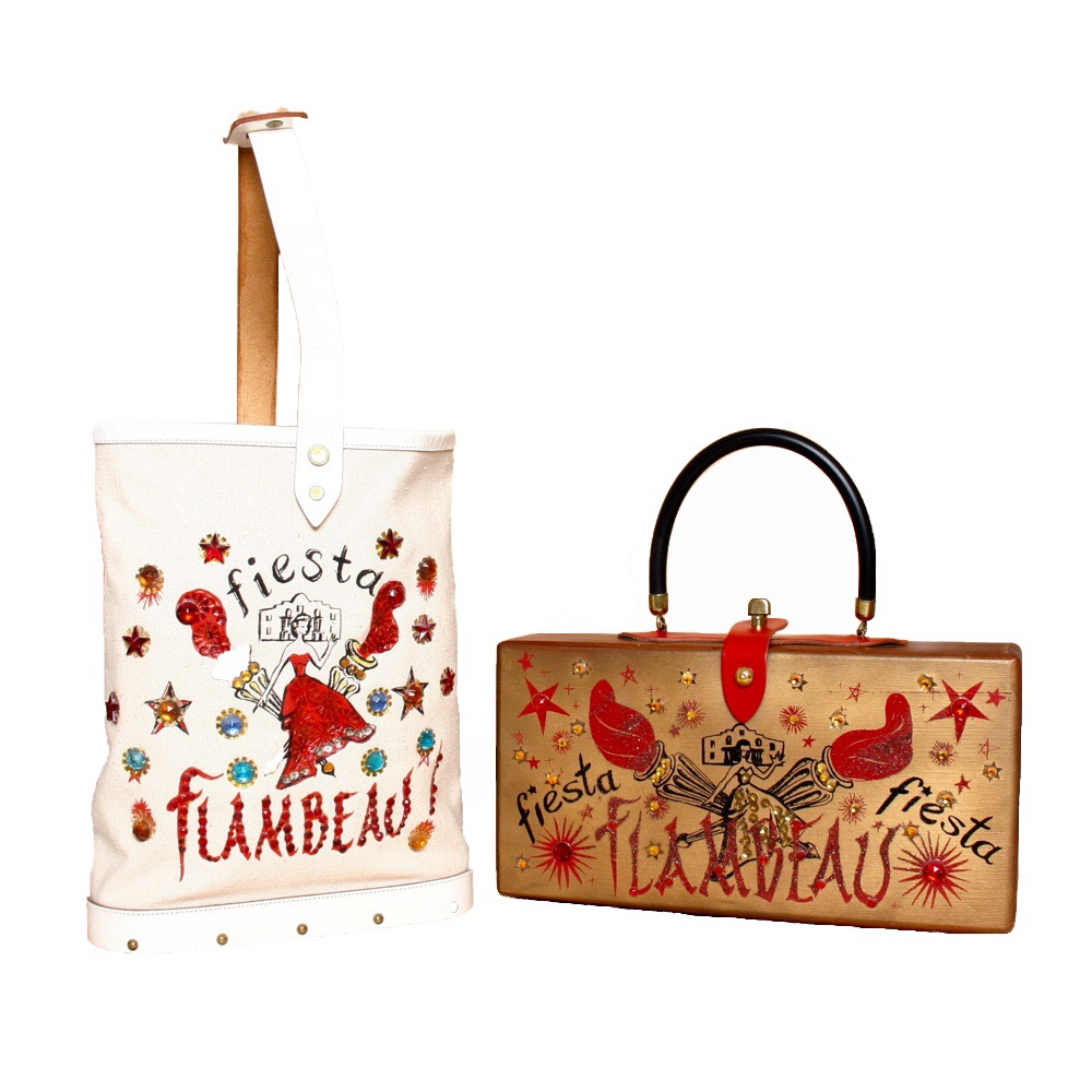 "Enid Collins of Texas ""fiesta FLAMBEAU"" canvas tote                                            Enid Collins of Texas ""fiesta FLAMBEAU"" box bag   height - 10 3/8""   width - 8 1/4""   depth - 2 3/4                                                                   height - 5 5/8""   width - 11 1/8""   depth - 2 7/8"""