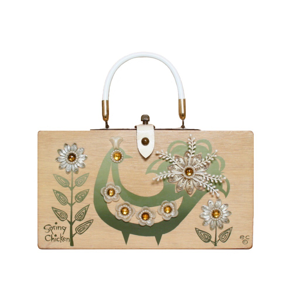 "Enid Collins of Texas ""spring chicken"" box bag   height - ""   width - ""   depth - """