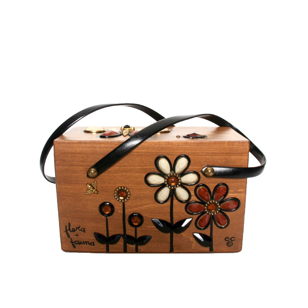"Enid Collins of Texas ""flora + fauna"" box bag   height - 5 3/8""    width - 8 5/8""    depth - 4 1/4"""
