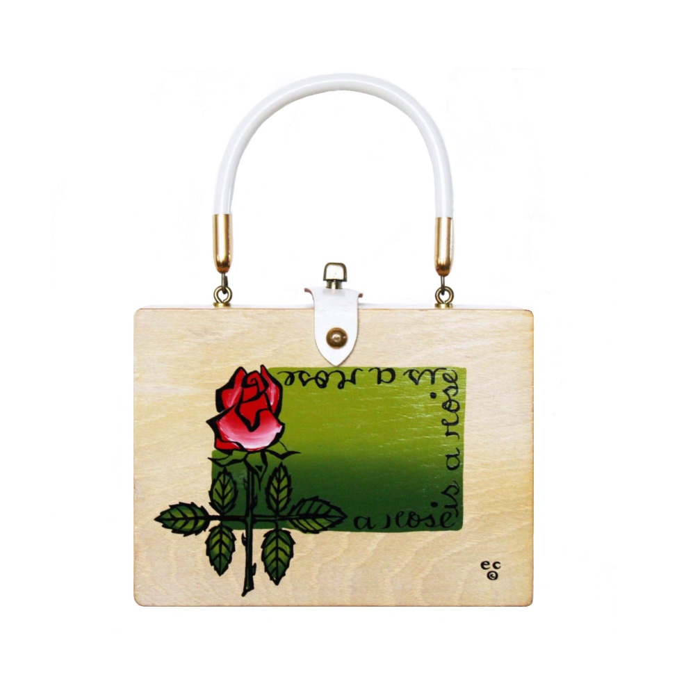 "Enid Collins of Texas ""a rose is a rose is a rose"" box bag   height - 5 7/8""    width - 7 7/8""    depth - 2 1/4"""