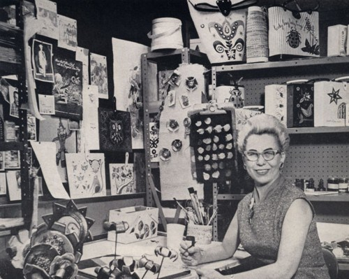 Enid Collins in her studio, 19??? Used with permission: ?????