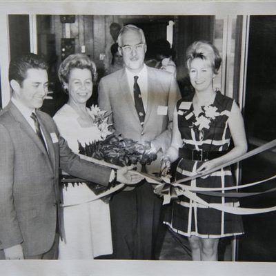 ?, Enid Collins, Frederick Collins and Cynthia Collins cut the ribbon to open the Collins of Texas factory in Media, Texas, 1970.