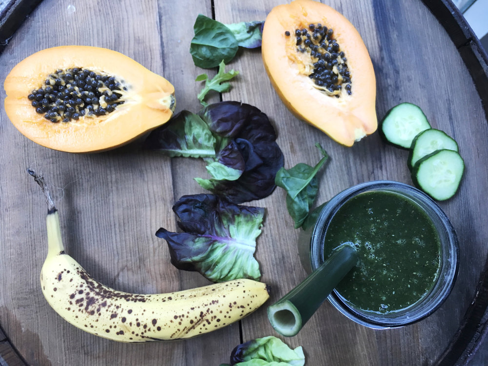 Nutritious green smoothie made from food left-over in your fridge.