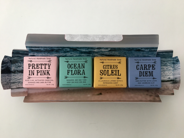 Artisan soap box - Soap gift boxes - Each box comes with a full size (120 gram) soap bars of Pretty in Pink, Ocean Flora, Citrus Soleil, and Carpe Diem.Wholesale $16 Retail $32