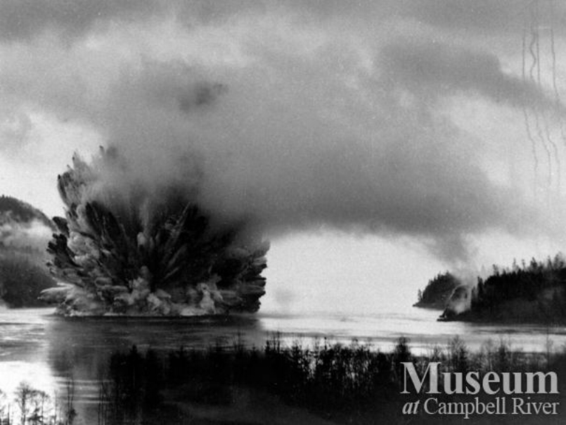The Ripple Rock explosion, April 5, 1958. Photo credit: Museum at Campbell River