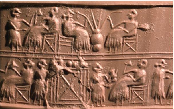 MÖ.2600 yılından kalma kabartma. En üst sırada uzun kamışlar yardımıyla bira içen Sümerlileri görebilirsiniz.