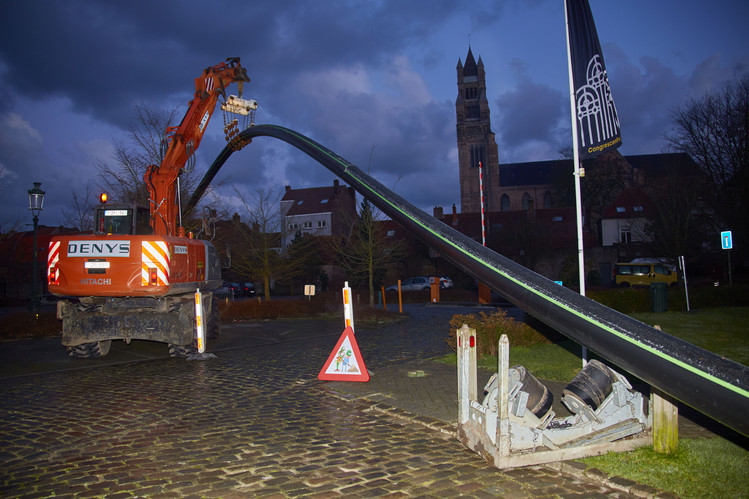 Beer pipeline construction Bruges
