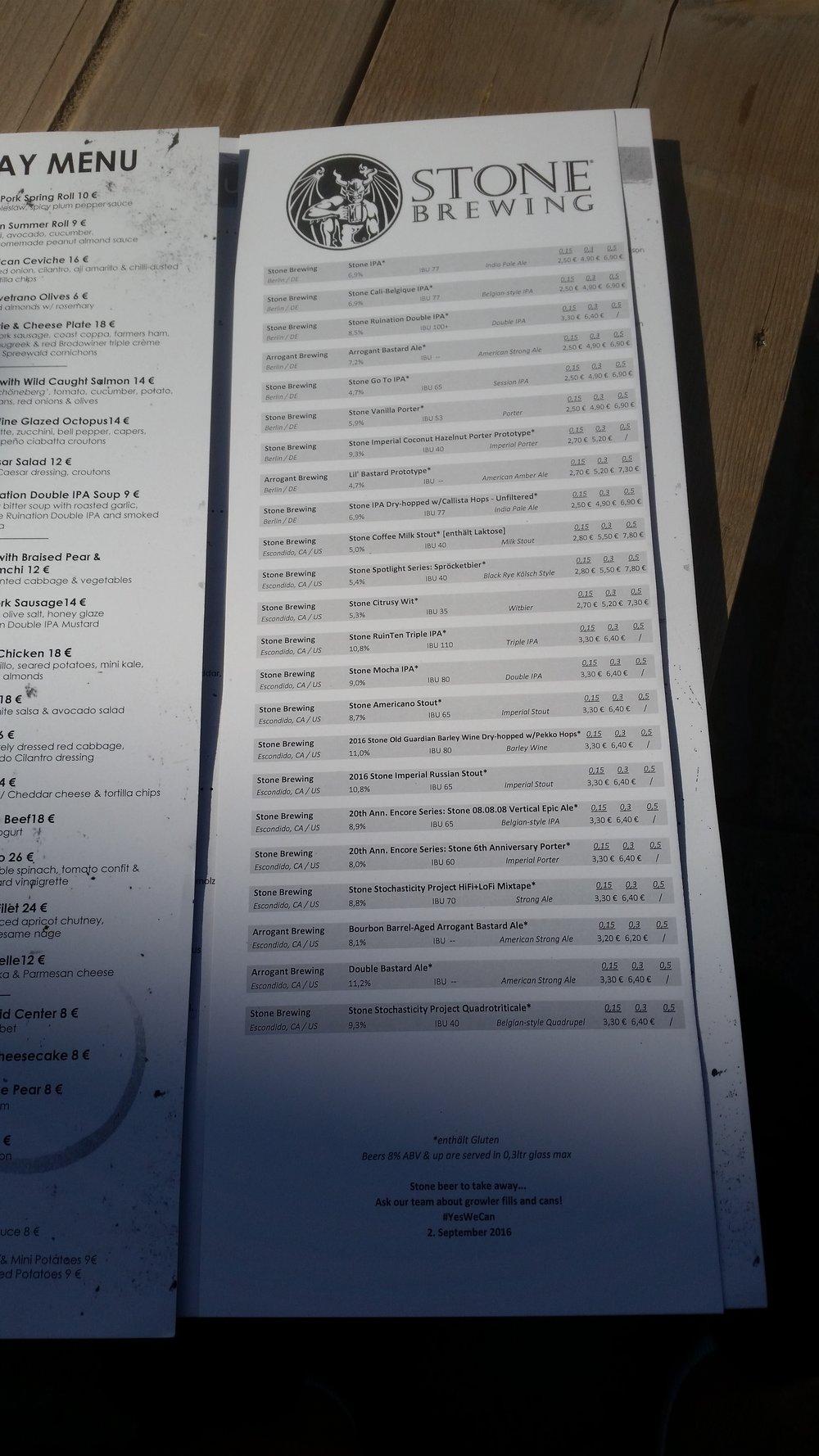 Stone biraların listesi