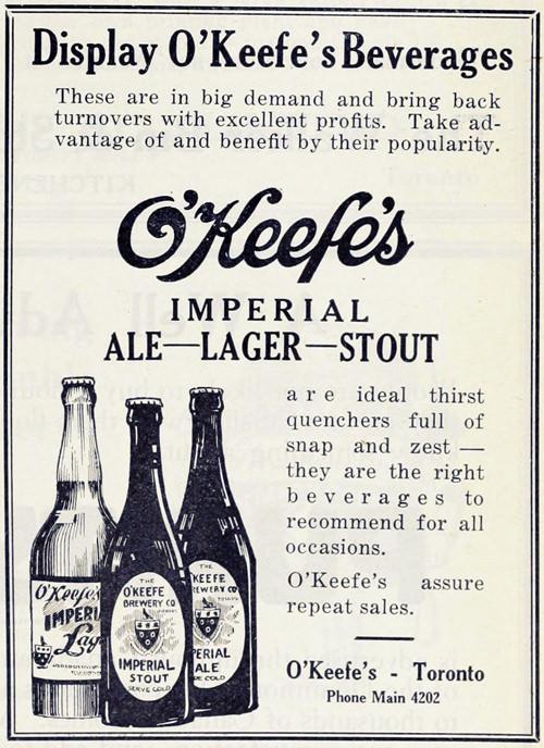 1919 yılından O'Keefe markasının stout reklamı