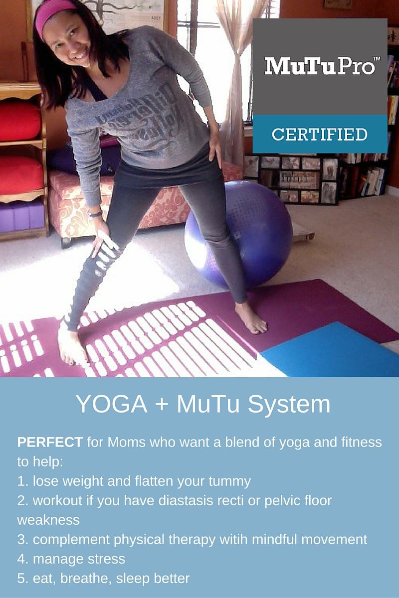Yoga and Mutu System complement each other and can help anyone restore core and pelvic floor function.