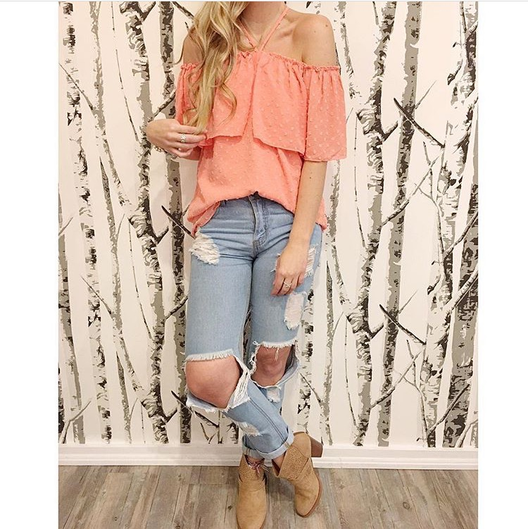 Cold-Shoulder Top in Peach available @ BTHB! Perfect top for a mixture of spring & summer events!  Easy to Dress-Up or Dress-Down!