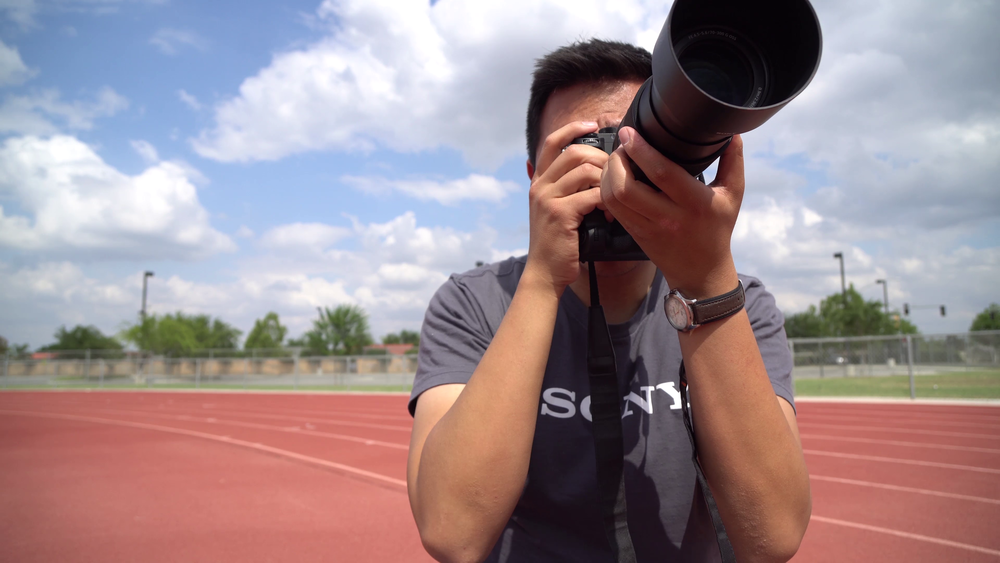 Shooting with the Sony 70-300 on the a7Rii. Waiting on track runners to start their race.