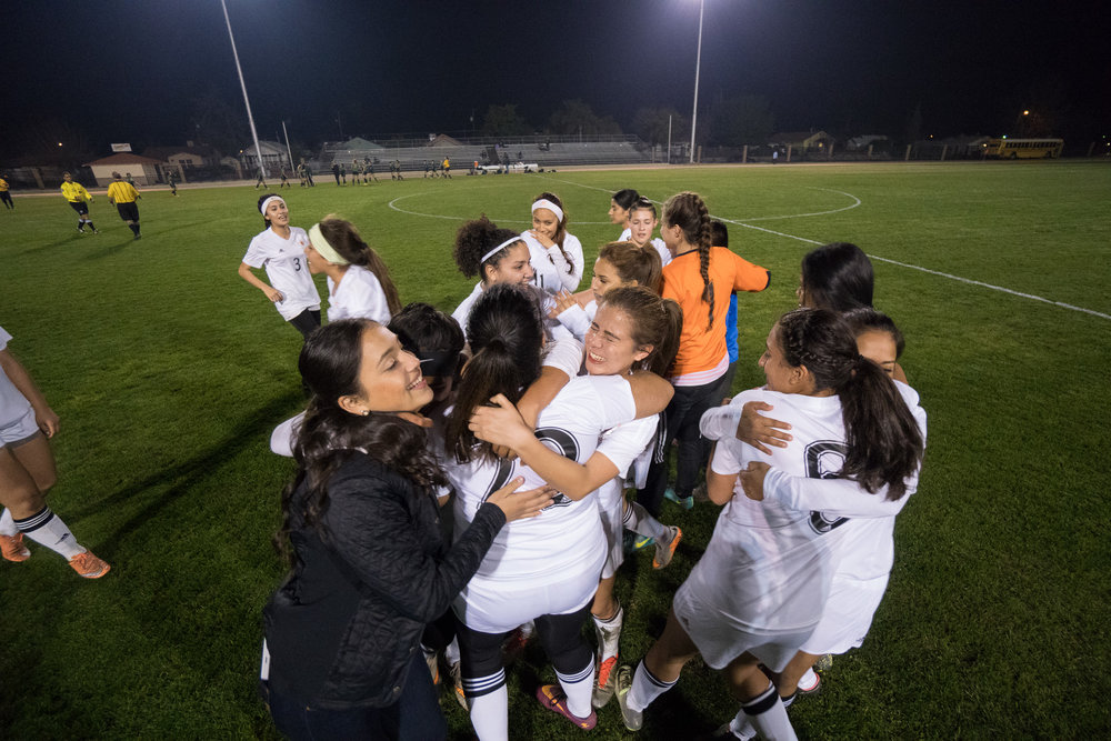 Varsity Girls Soccer win their first playoff game in almost 10 years against Fresno.
