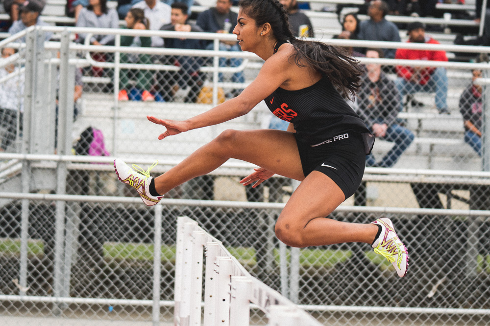 Vanessa Madrigal on the 100m hurdles.