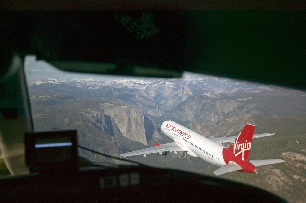 View from the cockpit of the camera plane as we do a  flay past over Yosemite.