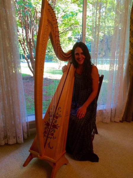 Tracy Stuever, hand made Celtic Harp available for weddings.