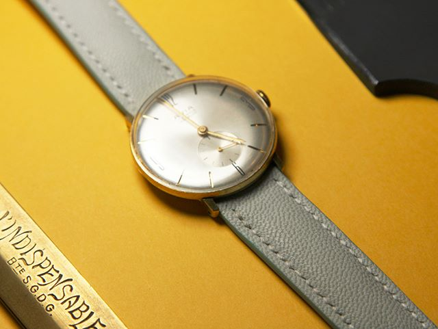 Hand stitched goat leather watchstrap  #watchstrap #torontomade #saddlestitch #vintagewatch
