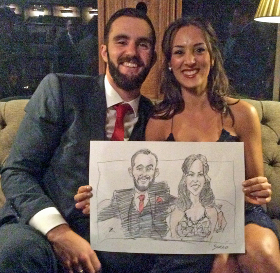 Handsome couple happy with their portrait