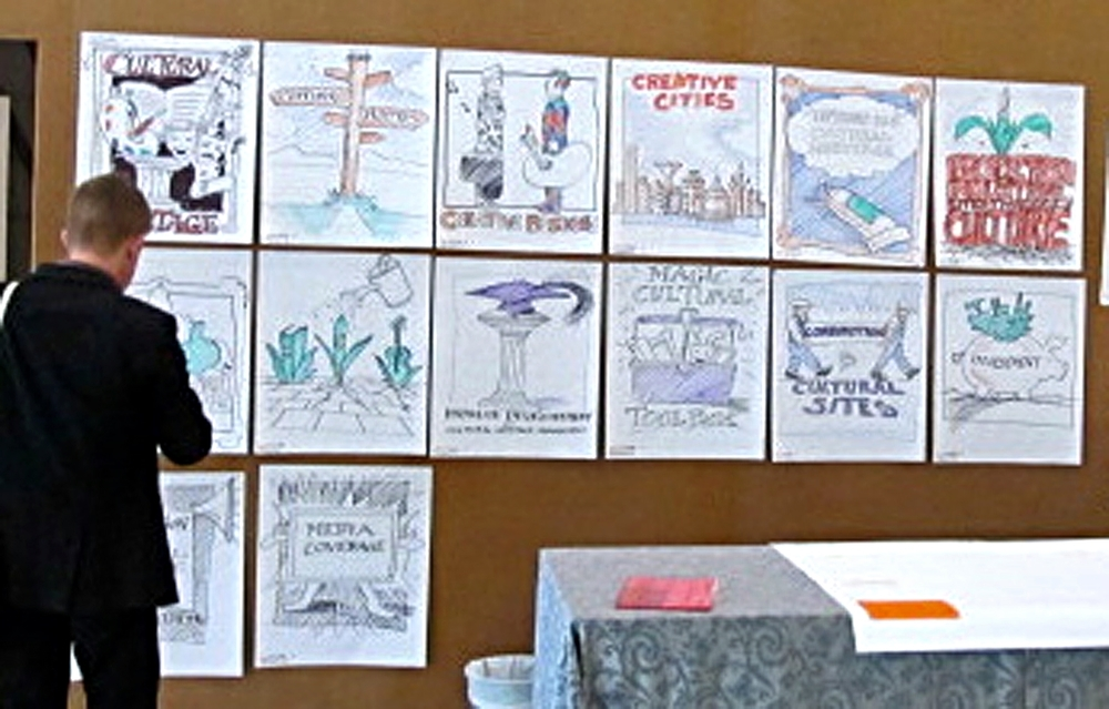 Cartoons for talks, lectures and conferences produced on the spot.