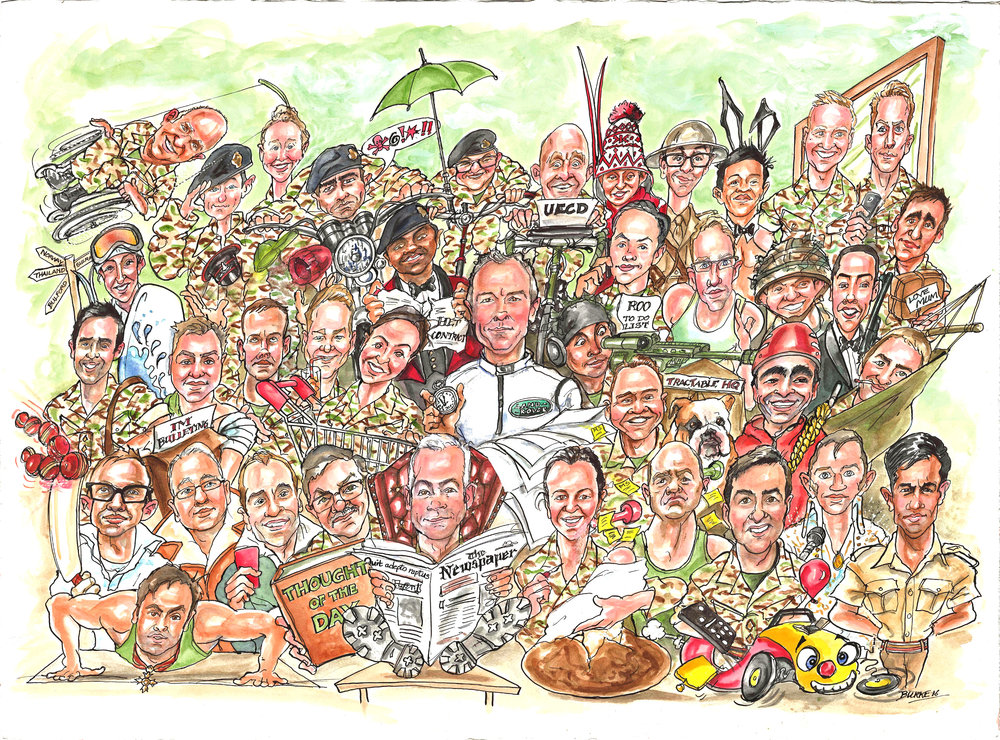 I have been very slack about jeeping a blog on this new.well newish website. It's been a productive summer since I started. I suppose that's why there's been no blog.  This is the largest number of caricatures I have ever done in one drawing. 38 portraits for an Officer's Mess. Not too much  of a mess hopefully.  I like to be punctual,if not a bit early for any job I'm doing. I rather over did it in August. I turned up for a wedding at the Clarendon Royal Hotel Gravesend. Turned out I was early.A year early.Oh well. it was a lovely evening for a drive.See you next year Amy.