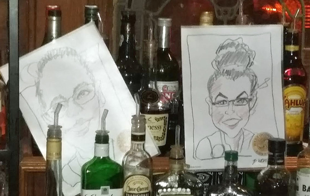 Cartoons of a few waitresses