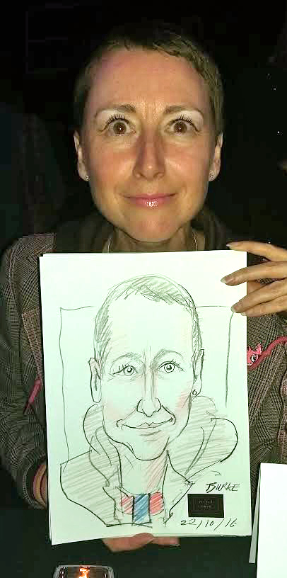 Local artist Anna Marie Buss stops for 4 minute likeness during opening of new local bar.