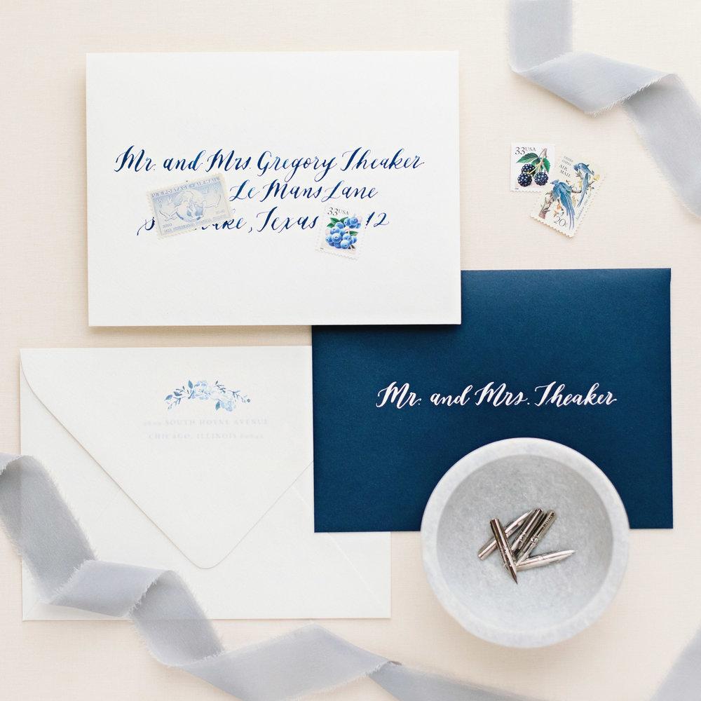 Dreams and Nostalgia_Envelope Calligraphy_Blue Wedding.jpg