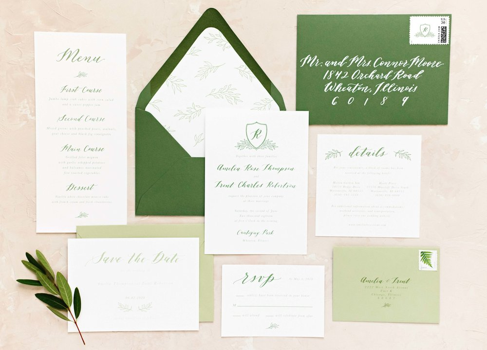 Leafy Crest Monogram Semi-Custom Invitation Suite_Dreams and Nostalgia_Greenery.jpg