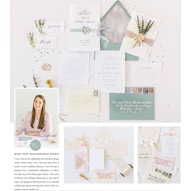 It's been an amazing week being back in Houston, and the icing on the cake has been celebrating the release of the spring issue of @bridesofhouston magazine! I'm thrilled to be featured in this beautiful publication alongside @halfmoonlettering, @memorylanepaperie, @papertieaffair_ and @beringshardware in the invitation designer spotlight series photographed by @picturethisforeverphoto at @thecreativechateautx. View the link in my profile to see the full blog post with more about the heart behind this business - and my best piece of advice for brides! 💕😉