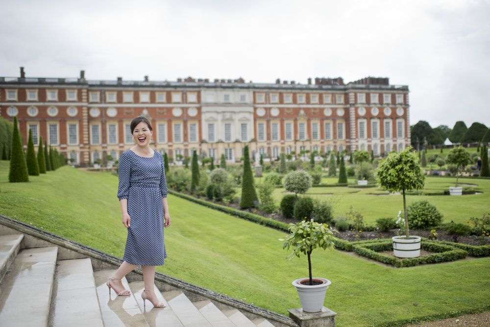 (Jk. I'm not in Paris. But in this picture I AM at Hampton Court, which, joy-wise, is my own personal equivalent!)