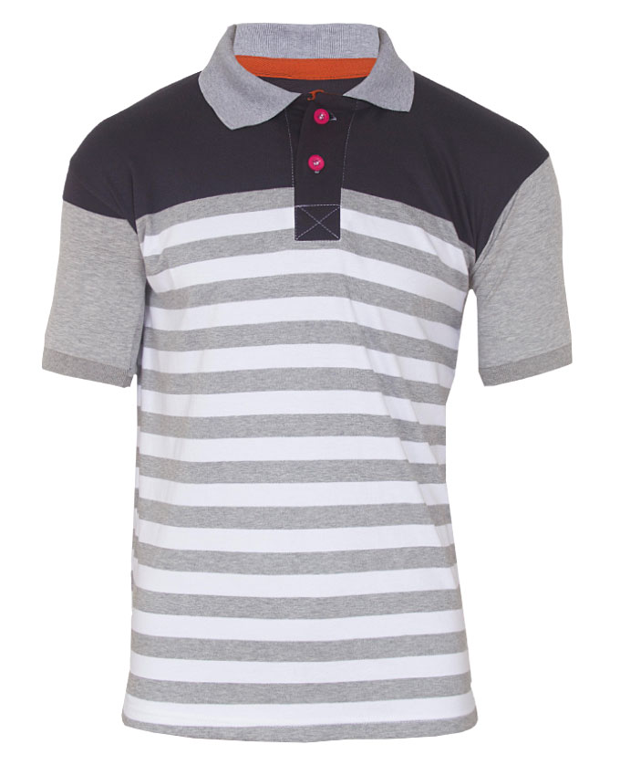 retro striped polo tshirt - m   n4,000