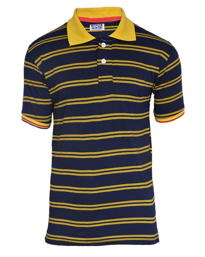mustard striped polo tshirt - m   n4,000