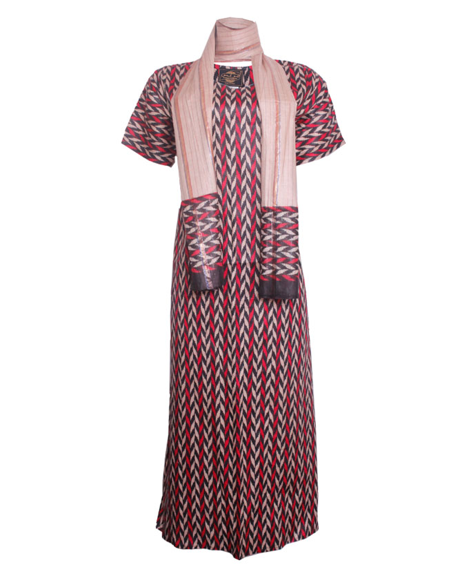 croxley maxi dress with scarf - pink  sizes 16   n7,500