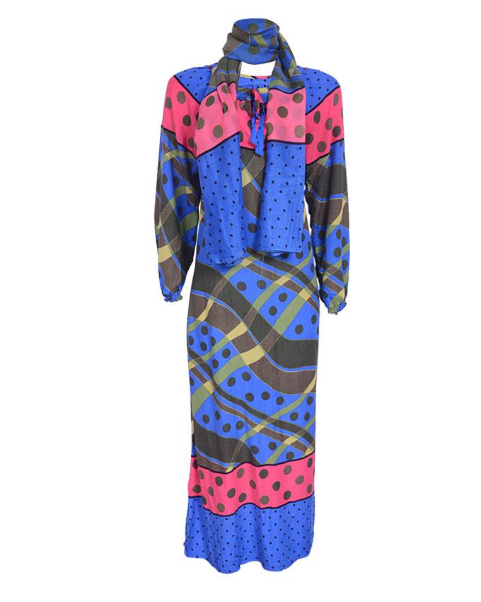 debden maxi dress w/ scarf - blue sizes 14-20   n4,600