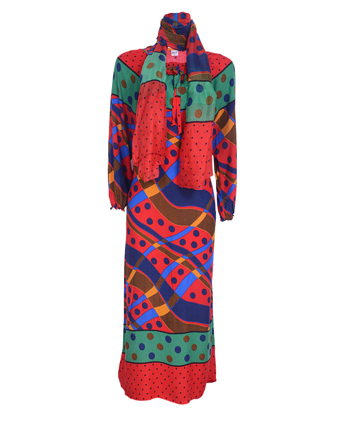debden maxi dress w/ scarf - red  sizes 14,18, 20   n4,600