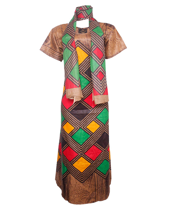 PRETORIA MAXI DRESS W/ MULTI-COLOR PRINT AND SCARF - brown  SIZES 18   N8,500