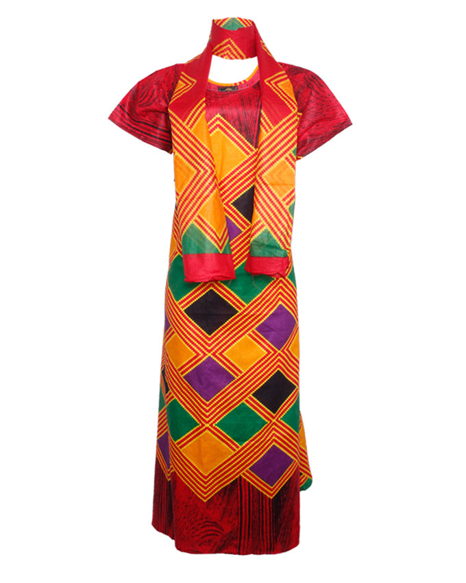 PRETORIA MAXI DRESS W/ MULTI-COLOR PRINT AND SCARF - red  SIZES 18   N8,500