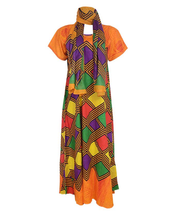 PRETORIA MAXI DRESS W/ MULTI-COLOR PRINT AND SCARF - orange SIZES 18   N8,500