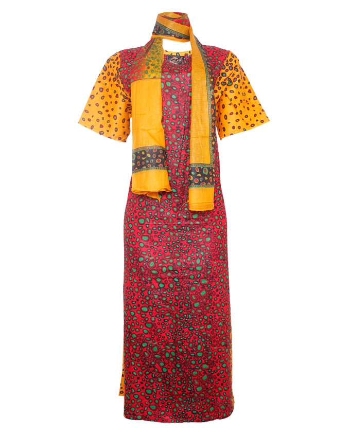 pinner turtle shell inspired maxi dress with scarf - red/yellow  sizes 14 - 16   n7,500