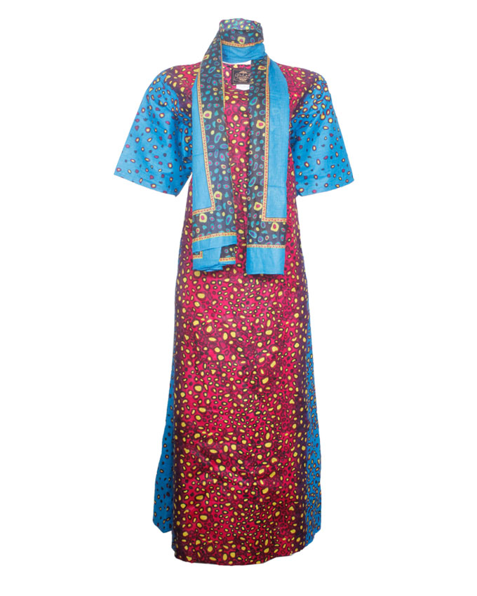 PINNER TURTLE SHELL INSPIRED MAXI DRESS WITH SCARF - blue/dark redSIZES 16   N7,500