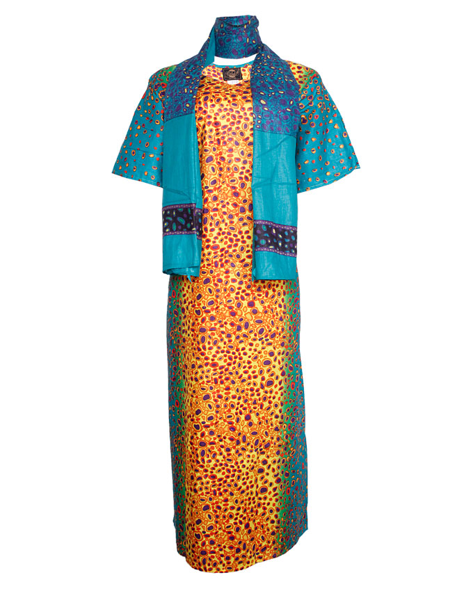 PINNER TURTLE SHELL INSPIRED MAXI DRESS WITH SCARF - blue/YELLOW  SIZES 16 - 18   N7,500