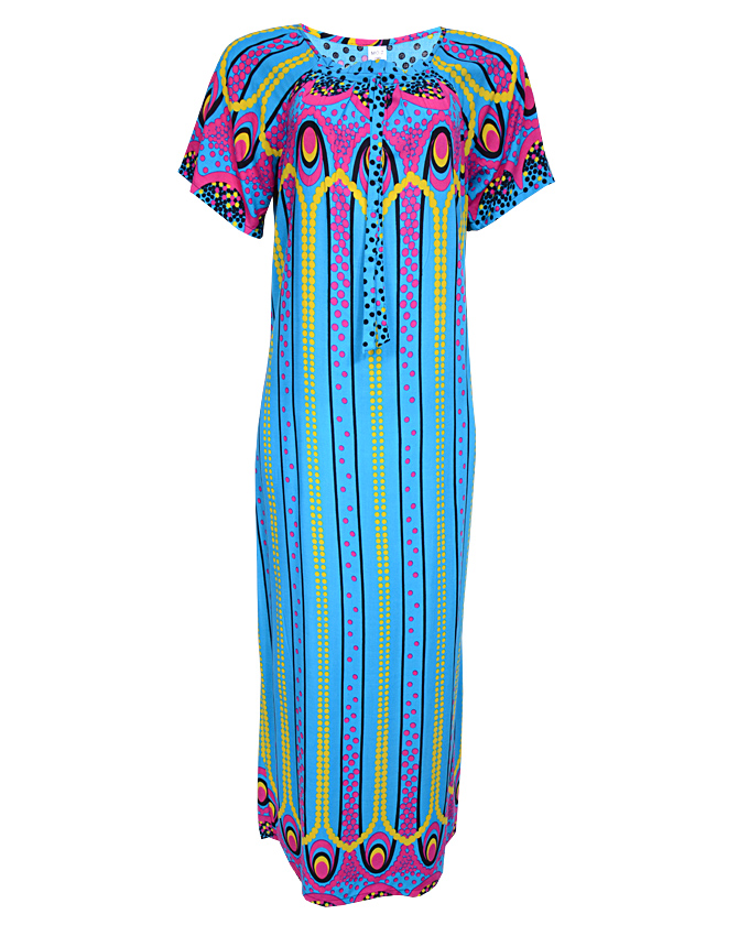 queensway maxi dress with circle orbit print - blue  sizes 16, 20, 22   n3,500