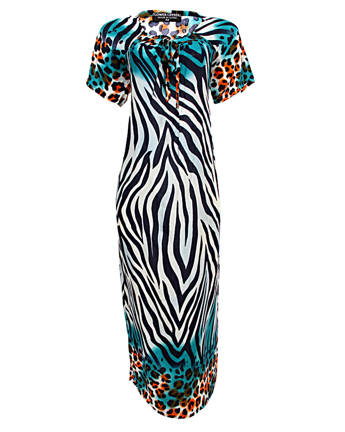 queensbury maxi dress with tiger print design - blue  sizes 16 - 20   n3,500