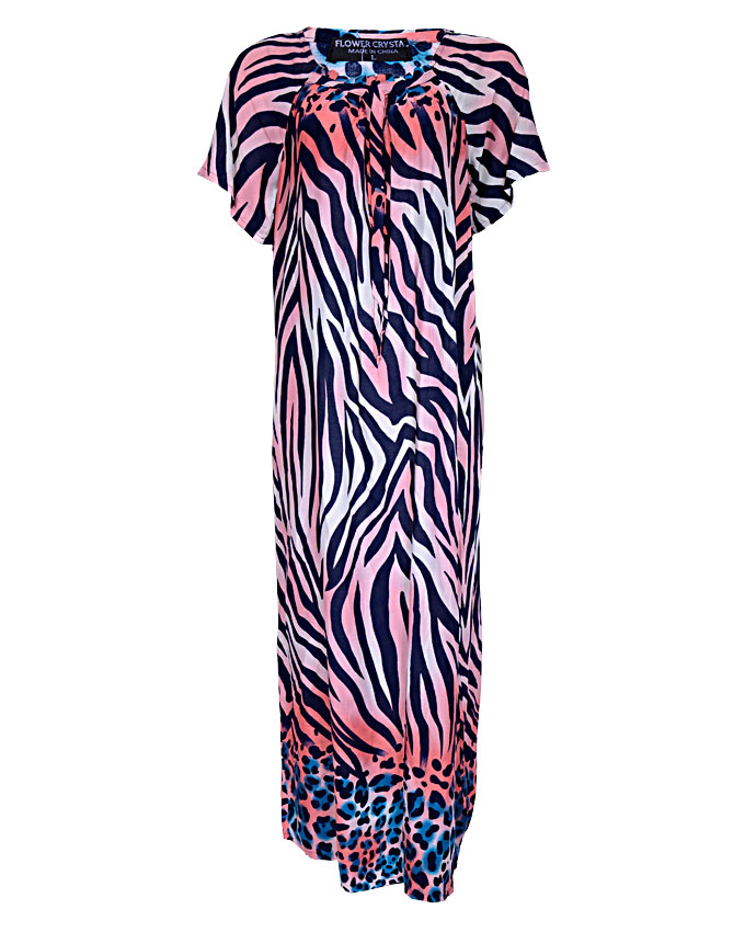 QUEENSBURY MAXI DRESS WITH TIGER PRINT DESIGN - pinkSIZES 16 - 20   N3,500