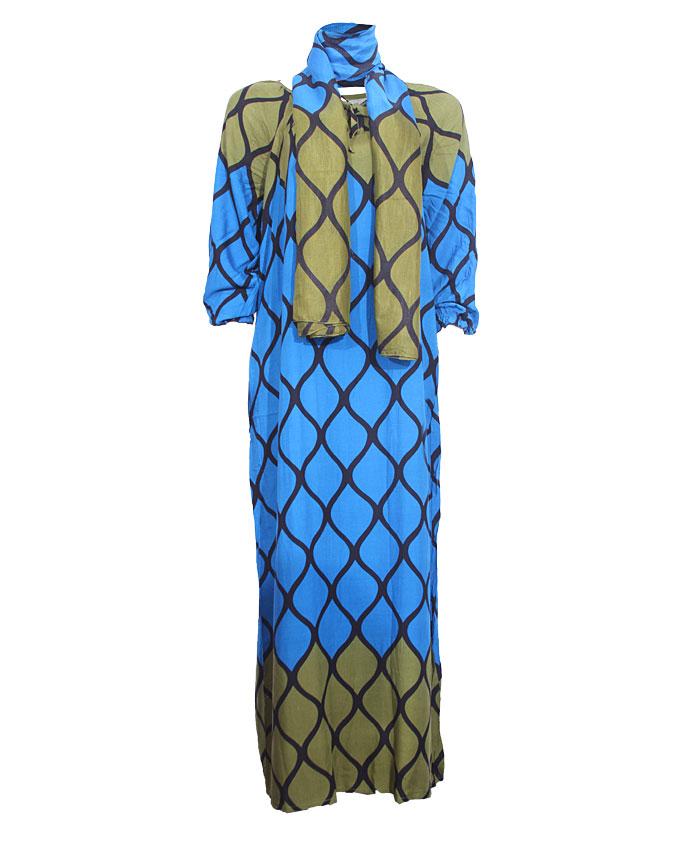 tristan maxi dress w/ scarf - blue/green sizes 18 - 20   n4,500